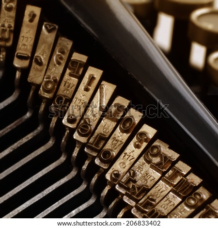 Typewriter - Closeup view of old typewriter keys  - stock photo