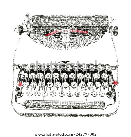 Typewriter in typewriter art - stock photo