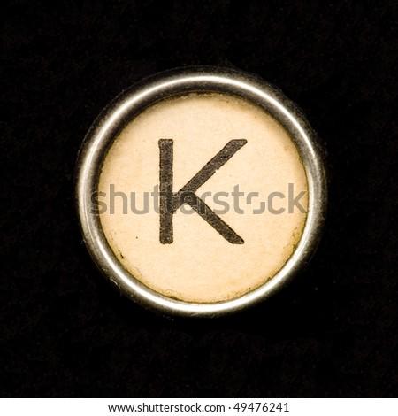 Typewriter letter K - stock photo
