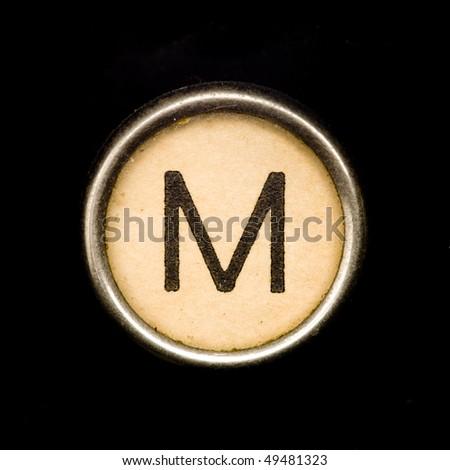 Typewriter letter M - stock photo