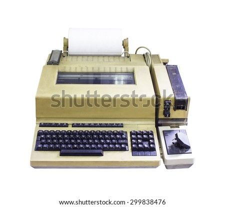 typewriter old Writer journalist news Isolated on white background