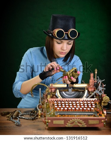 Typewriter repair. - stock photo