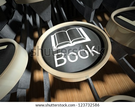 Typewriter with Book button, vintage style - stock photo