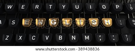 Typewriter with ENGLISH gold buttons - stock photo