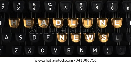 Typewriter with HEADLINE NEWS buttons - stock photo