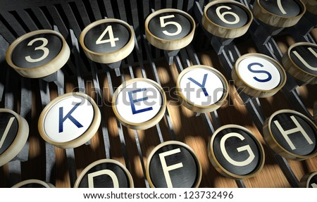 Typewriter with Keys buttons, vintage style - stock photo