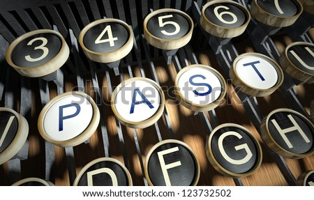 Typewriter with Past buttons, vintage style - stock photo