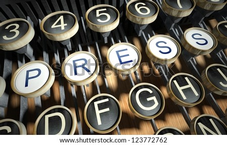 Typewriter with Press buttons, vintage style - stock photo