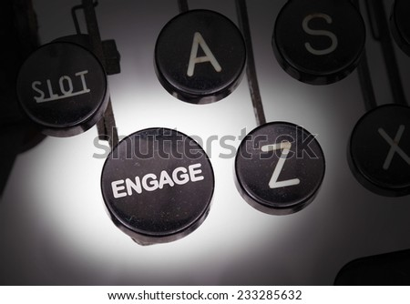 Typewriter with special buttons, engage - stock photo
