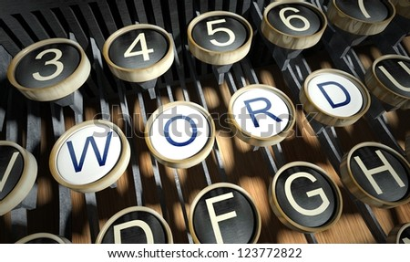 Typewriter with Word button, vintage style - stock photo