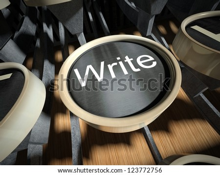 Typewriter with Write button, vintage style - stock photo