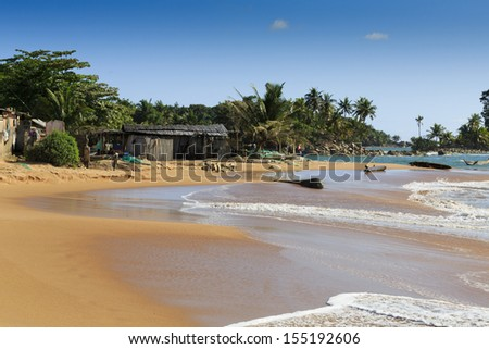 Typical African fishing village in Axim, Northern Ghana - stock photo