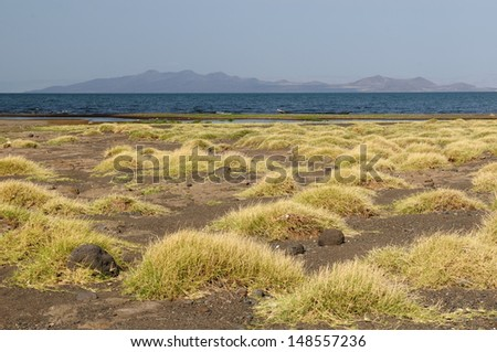 Typical African landscape - Lake Turkana, Kenya - stock photo