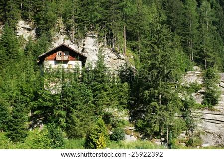 Typical alpine wooden house (Austria) - stock photo