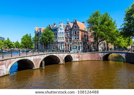 Typical Amsterdam scene with canals, bridges and bicycles