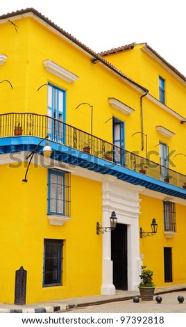 Typical and colorful colonial house in Old Havana isolated on white