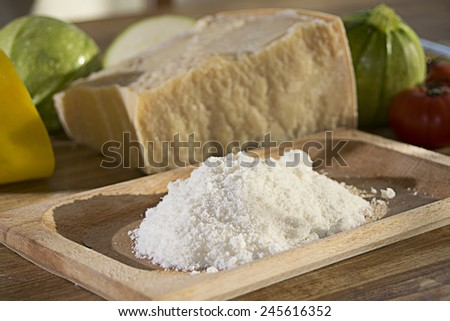 typical and traditional italian product: grated parmesan - stock photo