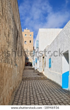 Typical arabic style street, Tunisia, Africa - stock photo