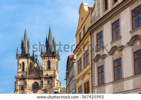 Typical architecture and Church of Our Lady Before Tyn in Prague, Czech Republic. - stock photo
