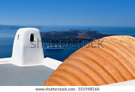 Typical architecture and decoration at Santorini island in Greece - stock photo