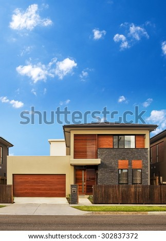 Typical australian house closeup in summer
