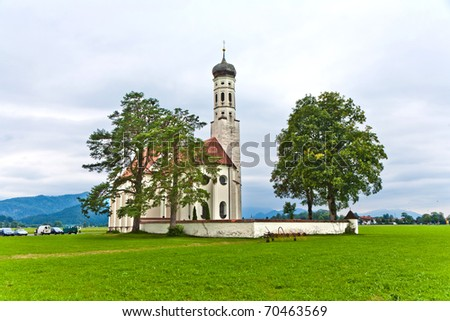 typical bavarian landscape with a chapel