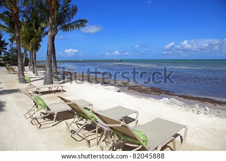 Typical beautiful ocean view and beach in the Florida Keys