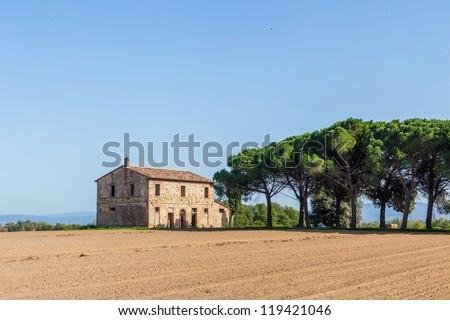 Typical beautiful Tuscan landscape-trees, grass, ski, villa. Italy - stock photo