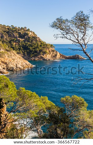 Typical beautiful wild Costa Brava coastline, Catalonia - stock photo