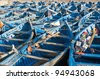 Typical blue boats at Seaport of Essaouira, Morocco - stock photo