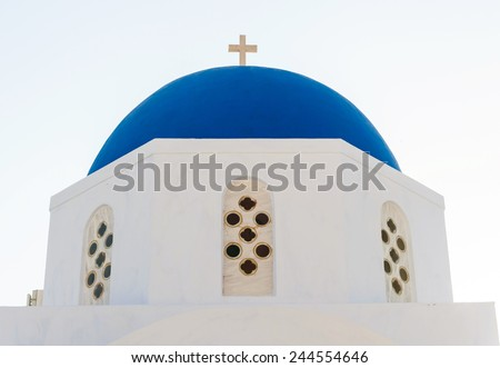 Typical blue cupola of a church in Santorini island, Greece. - stock photo