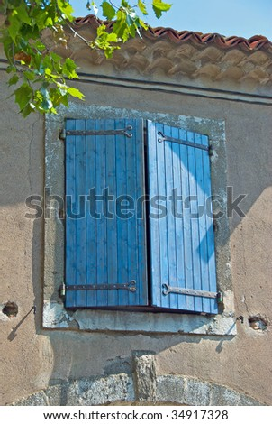 Typical Blue Shutters on a house in the south of France