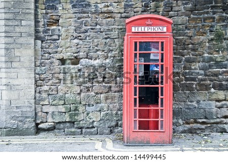 typical british telephone booth / box - stock photo