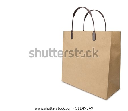 Typical brown paper shopping bag. Shot with wide lens at low angle .Isolated on pure white. - stock photo