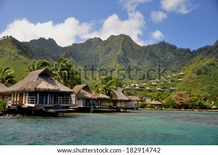 typical buildings at tropical island of Moorea, french polynesia - stock photo