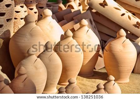 Typical ceramic pots from Majorca (Balearic Islands - Spain) - stock photo