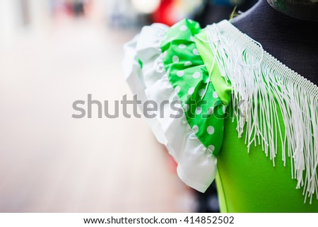 Typical colored Spanish flamenco dress - stock photo