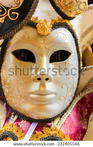 Typical colorful mask from the venice carnival, Venice, Italy - stock photo