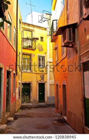 Typical colorful street from Lisbon in Portugal.