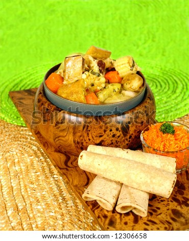 Typical costa rican soup called olla de carne - stock photo