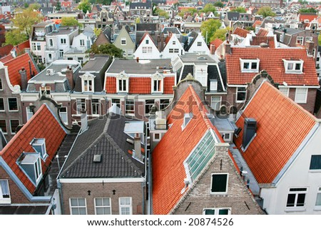 Typical dutch canal houses in the city of Amsterdam (Western part), Holland - stock photo