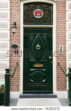 Typical Dutch Front Door With Green Color
