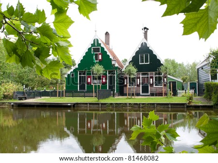 typical dutch houses in the Zaanse Schans north to Amsterdam - stock photo