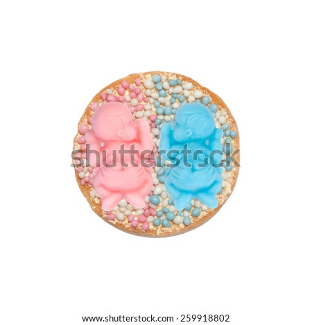 Typical Dutch mouse rusk with pink and blue mice, for baby girl and boy shower of twins - stock photo