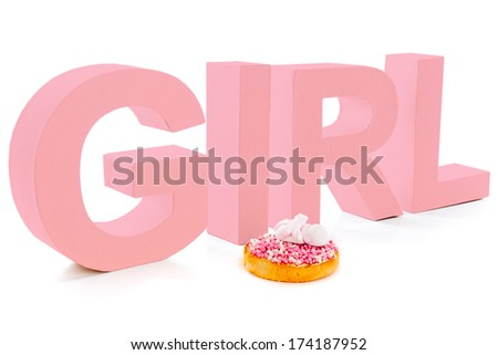 Typical Dutch mouse rusk with pink mice, for baby girl shower - stock photo