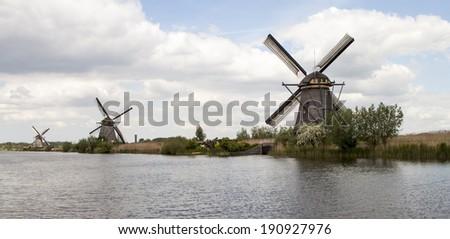 Typical Dutch windmills, Kinderdijk near Rotterdam, the Netherlands - stock photo