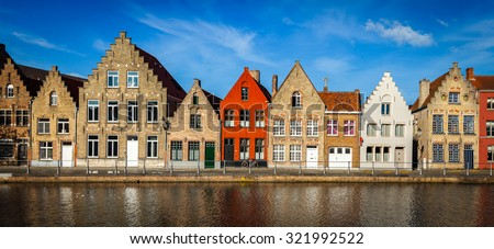 Typical European Europe cityscape view -  panorama of canal and medieval houses. Bruges (Brugge), Belgium - stock photo