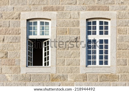 typical facade walls st malo houses, Brittany,  France, Europe - stock photo