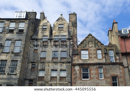 typical facades in Edinburgh - stock photo