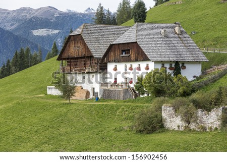 Typical farm houses in South Tyrol, Italy - stock photo